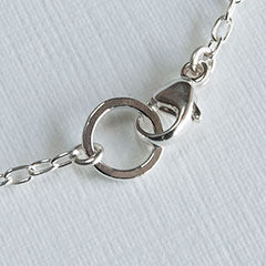 Lobster clasp on a pendant chain.