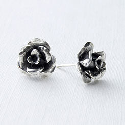 Rose earrings handmade in sterling silver.
