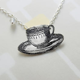 Teacup pendant in sterling silver with a moonstone.