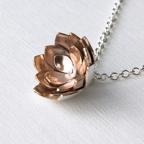 Double tulip pendant - handmade in sterling silver and copper.