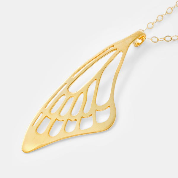24ct gold vermeil butterfly wing pendant necklace on a 14ct gold filled chain by Australian jewellery designer Simone Walsh.