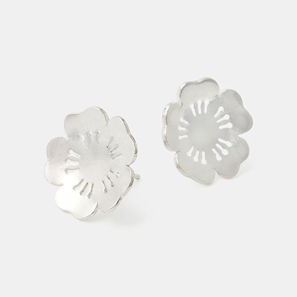 Sterling silver stud earrings with a cherry blossom design in our jewellery Australia online store.
