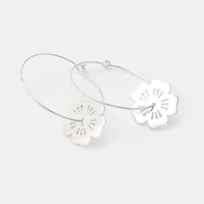 Cherry blossom sterling silver hoop earrings in our jewellery Australia online store.