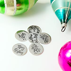 Solid silver Christmas pudding coins.