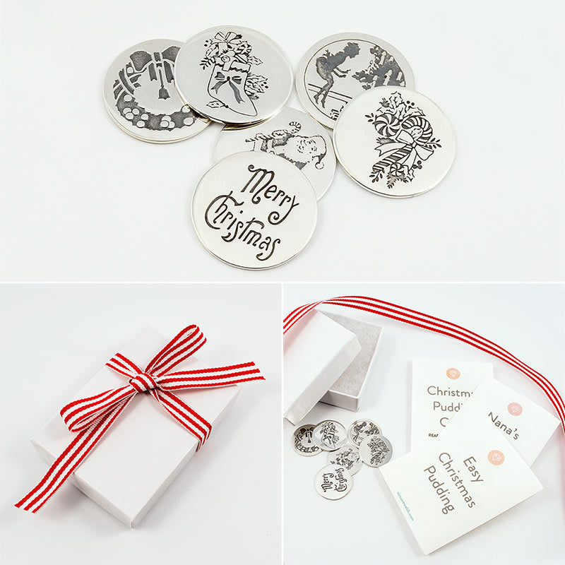 Solid silver Christmas pudding coins with recipes for brandy cream and a quick and easy Christmas pudding.