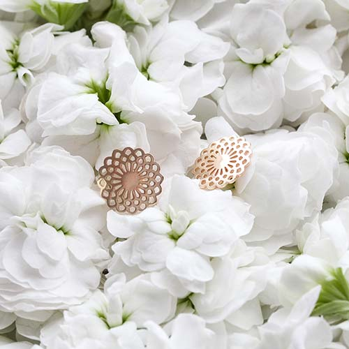Solid gold stud earrings with a unique dahlia design: quality gold jewellery in our Australian online store.