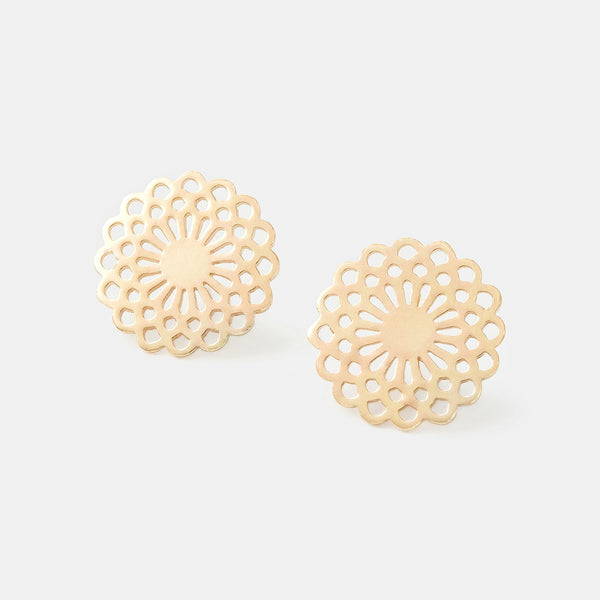 Solid gold stud earrings with a dahlia flower design.