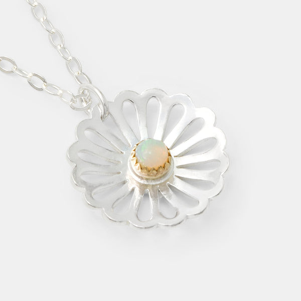 Daisy and opal gemstone necklace in sterling silver and solid gold by Australian jewellery designer Simone Walsh.