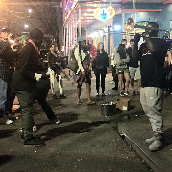 Dancing to a truly great brass band in Frenchmen Street, New Orleans.