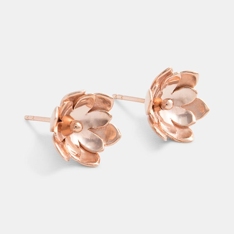 Australian designed double tulip earrings in rose gold vermeil.