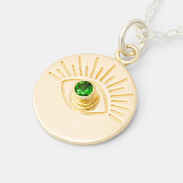 Gold jewellery: evil eye pendant necklace in solid gold