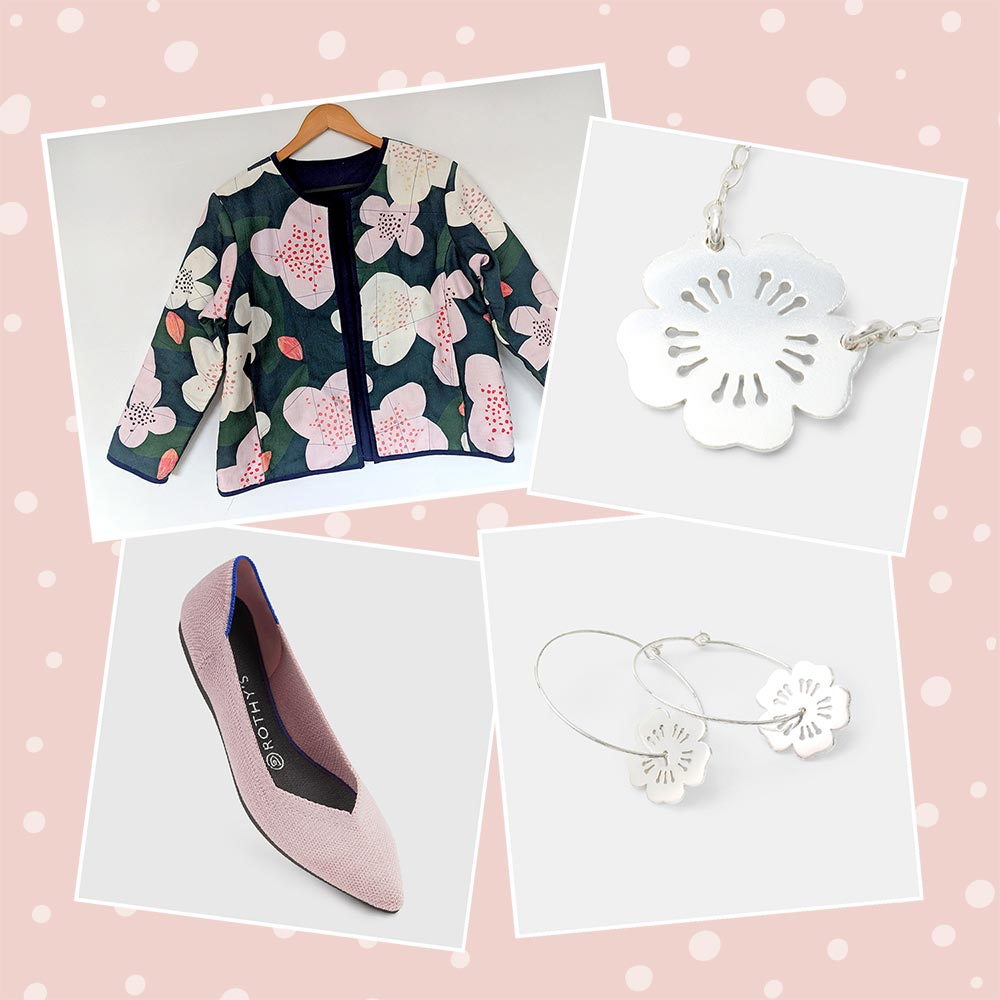 Sustainable and ethical fashion featuring cherry blossoms and pink.