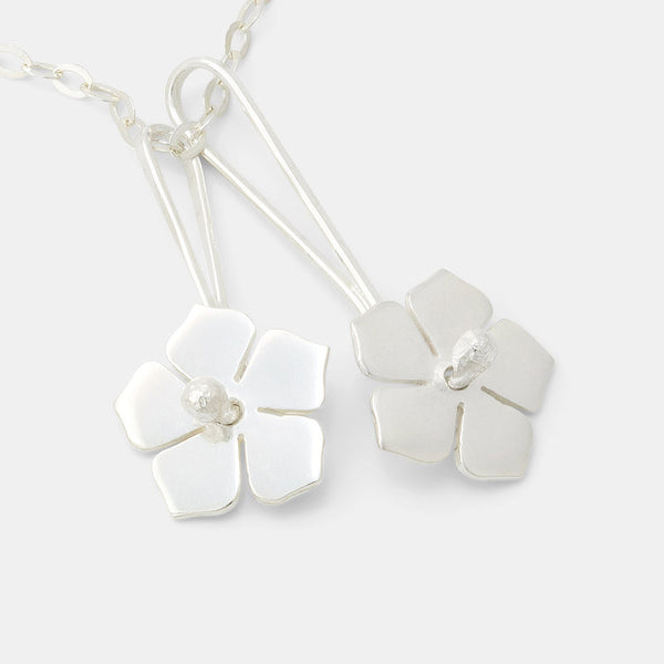 Forget-me-nots on sterling silver chain necklace.