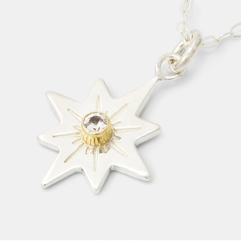 Guiding star pendant in sterling silver, gold and white sapphire by Australian jewellery designer Simone Walsh.