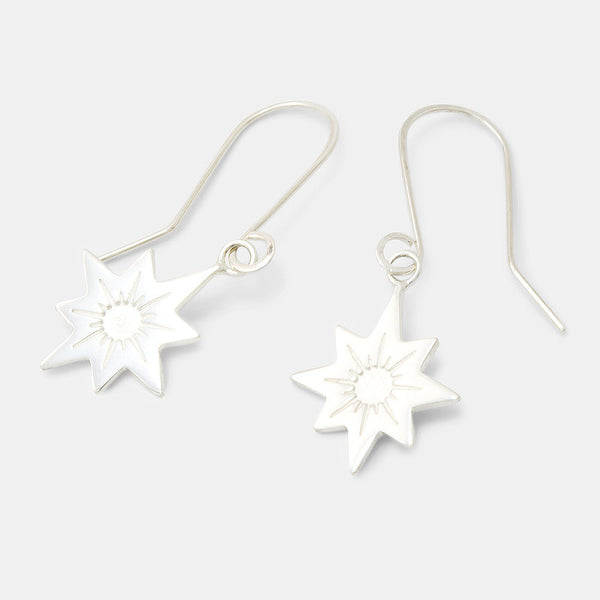 Sterling silver guiding star drop earrings by Australian jeweller Simone Walsh.