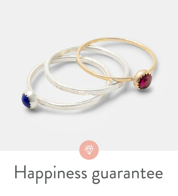 Be happy or get your money back for your online jewellery purchases.