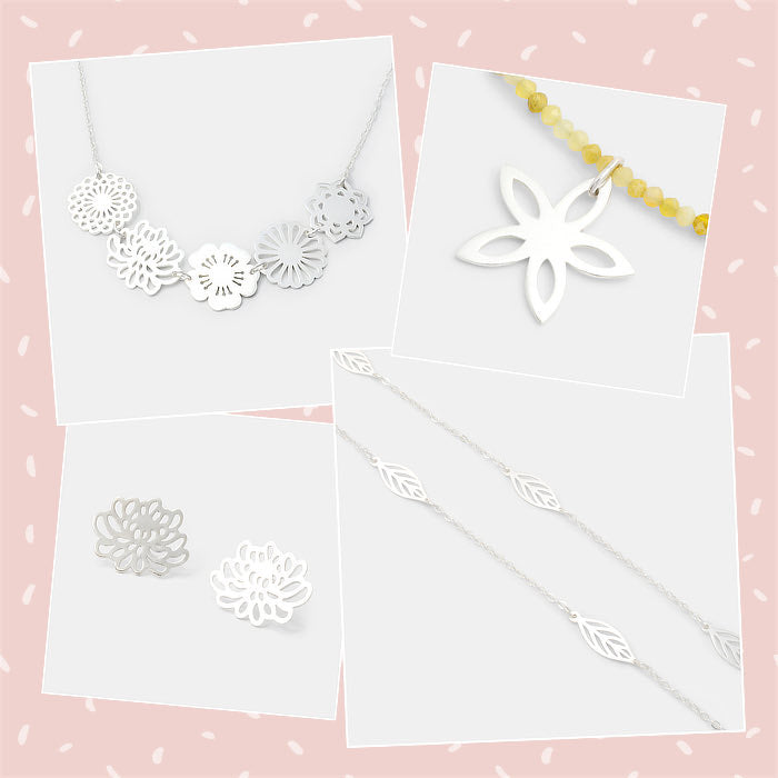 Mixed and matched bouquet jewellery in sterling silver and gemstones featuring leaves and flowers.