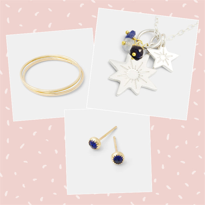 Mixed and matched sterling silver, gold and sapphire jewellery designs, handmade in Australia.
