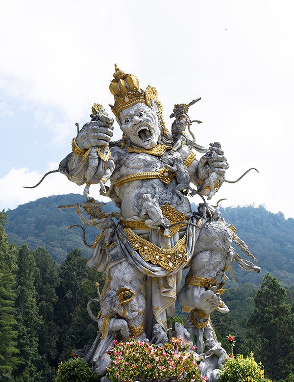 Huge and ornate statue of the Hindu character Kumbhakarna.