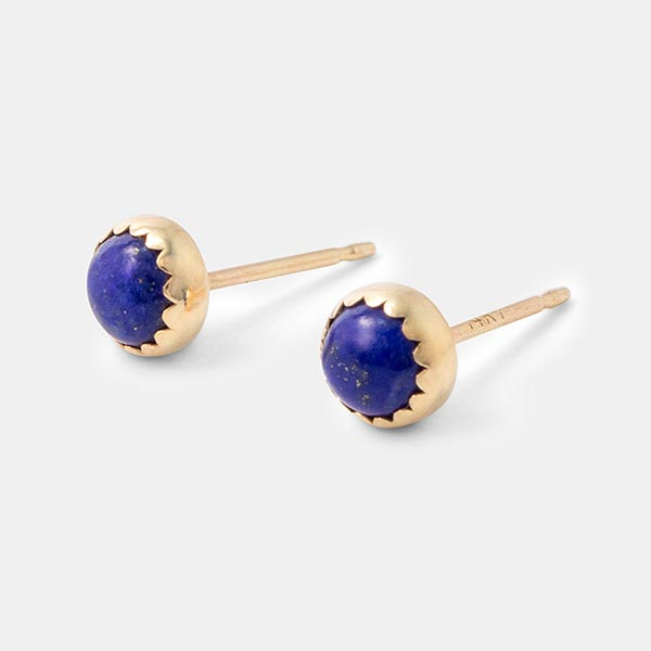 Solid gold stud earrings with lapis lazuli gemstones: handmade jewellery by Australian jewellery designer Simone Walsh.