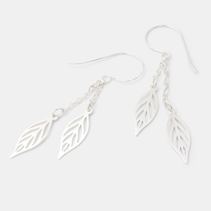 Leaf chain long dangle earrings in sterling silver in our Australian online jewellery store.
