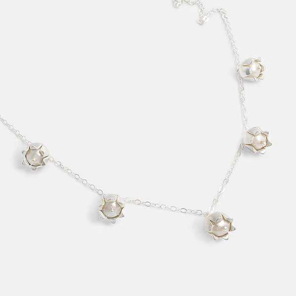 Lily of the valley necklace in sterling silver and pearls in our Australian jewellery store.