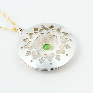 Mandala pendant in silver, gold-filled and chrysoprase.