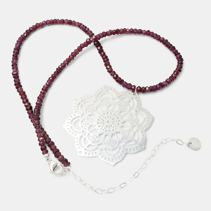 Mehndi mandala beaded necklace with rose garnet gemstone beads and a sterling silver statement pendant.