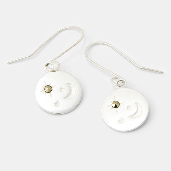 Silver earrings: moon and stars