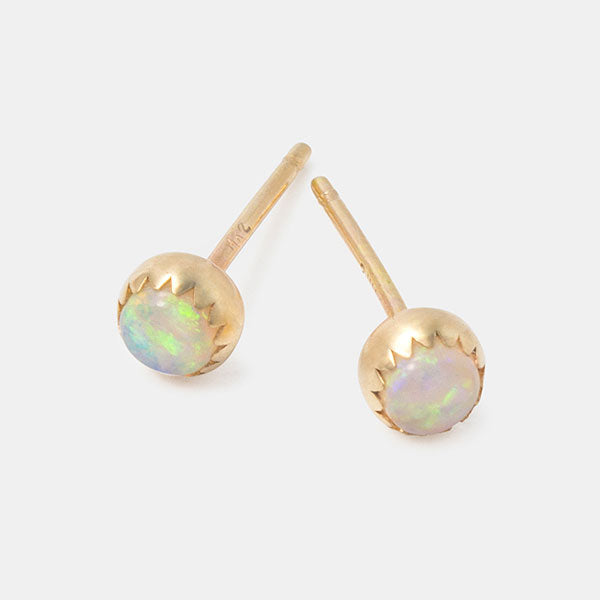 Solid 14ct gold and opal gemstone stud earrings in our Australian jewellery store online.
