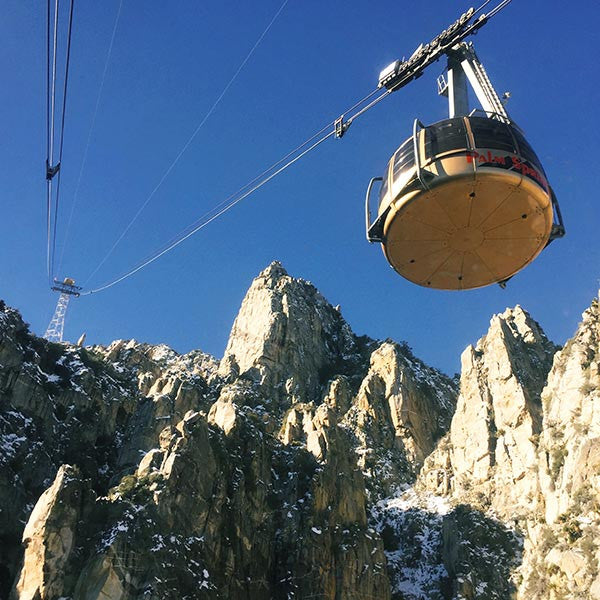 Going up to the snow via the Palm Springs Aerial Tramway.