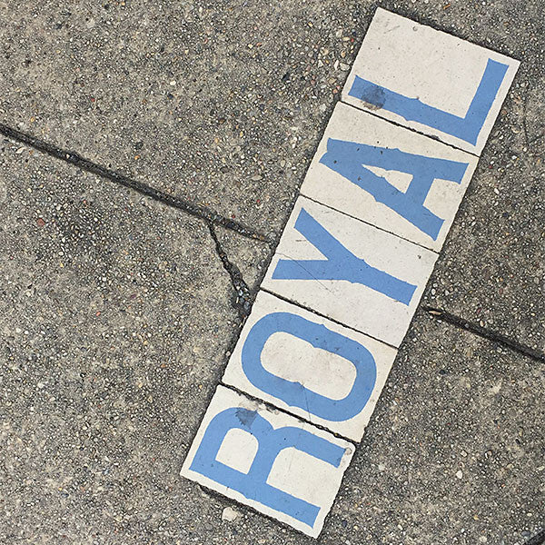 Royal Street sign on the pavement in New Orleans.