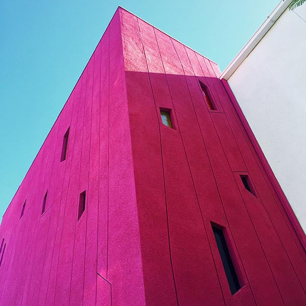 Pink wall at the Saguaro Hotel in Palm Springs.