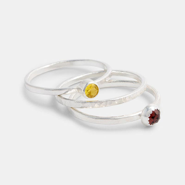 Handmade sterling silver and gemstone stacking rings set: garnet and golden topaz