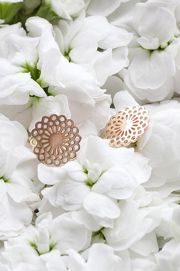 Solid gold earrings: dahlia flower earrings made in solid 14ct gold. Jewellery Australia online store.