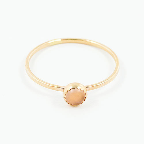Solid gold rose quartz stackable ring.