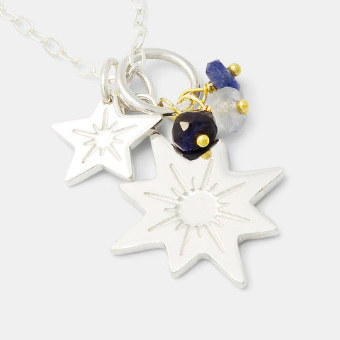 Stars and sapphires cluster necklace in sterling silver.