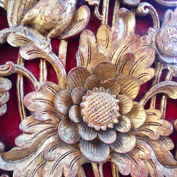 Hand carved woodwork in a Balinese temple.