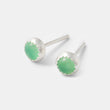 Green gemstone stud earrings - handmade in sterling silver and chrysoprase by Australian jeweller Simone Walsh.