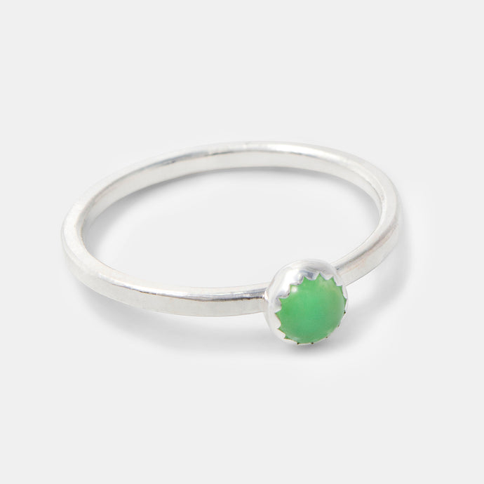 Green chrysoprase gemstone stacking ring handmade in sterling silver by Australian jewellery designer Simone Walsh.