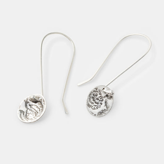 Sterling silver drop earrings with a damask pattern. Handmade by Australian jeweller Simone Walsh.