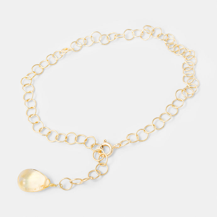 Gold chain bracelet with citrine gemstone. Affordable gold filled chain and a handcrafted citrine gem in our Australian online jewellery store.