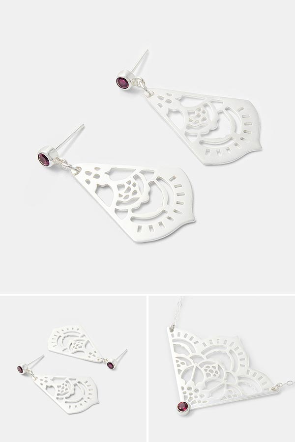 Unique bridal jewellery: mehndi sterling silver drop earrings with rhodolite (rose garnet) gemstones.  Beautiful silver jewellery for dressing up with. Handmade silver earrings by Australian jewellery designer Simone Walsh.