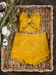 Mustard High Waisted Bummies / Diaper Cover / Coming Home Outfit/ Birthday Outfit/ Smash Cake Outfit