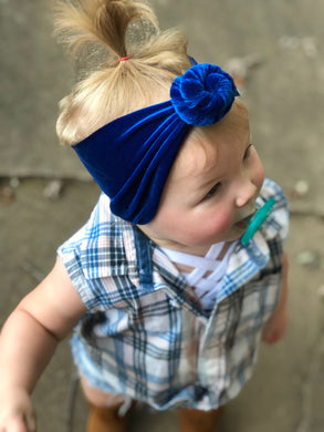 Royal Blue Velvet TopKnot