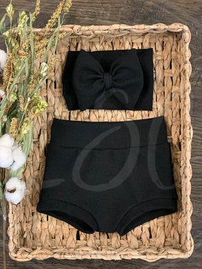 Black High Waisted Bummies / Diaper Cover / Coming Home Outfit/ Birthday Outfit/ Smash Cake Outfit