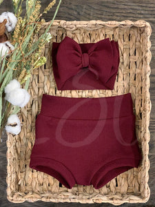 Burgundy High Waisted Bummies / Diaper Cover / Coming Home Outfit/ Birthday Outfit/ Smash Cake Outfit