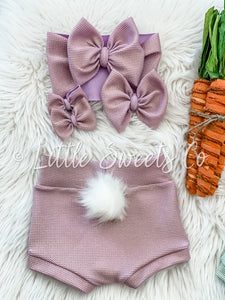 Lavender Shimmer Bunny Tail High Waisted Bummies