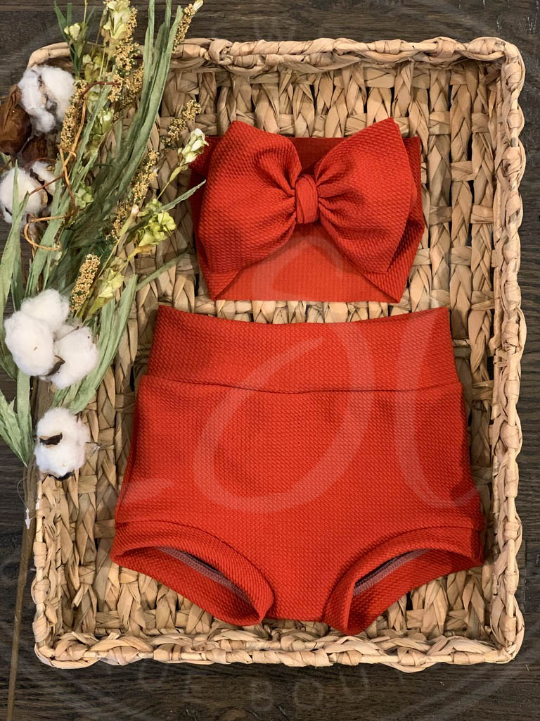 Rust High Waisted Bummies / Diaper Cover / Coming Home Outfit/ Birthday Outfit/ Smash Cake Outfit