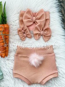 Peachy Pink Shimmer w/ Pink Bunny Tail High Waisted Bummies